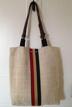 Grain Sack Tote Kempton Stripe Lined Vintage  by rebeccasaix, $170.00