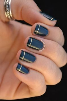 Navy Nails With Gold Striping Tips -  Thanksgiving Manicure Fall Nail Art
