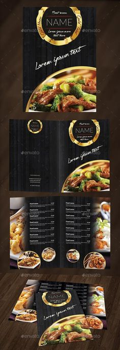 Gold Food Menu by D-S The file is inches with in bleeds, one page, CMYK whit PSD files are very well organised and layers na Cafe Menu Design, Menu Card Design, Restaurant Menu Design, Pizza Restaurant, Food Graphic Design, Food Menu Design, Speisenkarten Designs, Hotel Menu, Food Menu Template