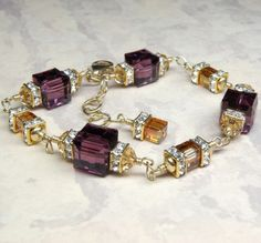 Purple Amethyst Crystal Bracelet Gold Filled Plum by fineheart