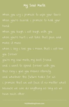 Trendy wedding vows i promise future husband 69 Ideas Wedding Vows That Make You Cry, Best Wedding Vows, Wedding Vows To Husband, Wedding Poems, Wedding Readings, Personal Wedding Vows, Wedding Ceremony, Funny Wedding Vows, 2017 Wedding