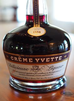Creme Yvette, also called Creme d'Yvette or Creme de Yvette, is a proprietary liqueur made from parma violet petals with blackberries, red raspberries, wild strawberries and cassis, honey, orange peel and vanilla.