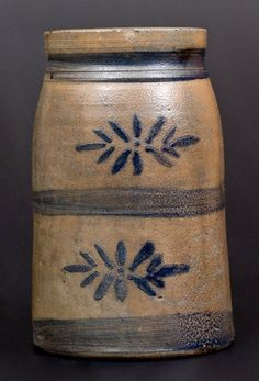 Cobalt-Decorated Stoneware Canning Jar, Western PA origin, circa tapered jar with tooled shoulder and wax seale. on Jul 2016 Stoneware Crocks, Antique Stoneware, Earthenware, Antique Crocks, Old Crocks, Wooden Snowmen, Primitive Snowmen, Primitive Christmas, Country Christmas