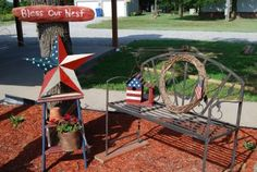"""Country Girl at Home: """"Bless Our Nest"""" Americana Outdoor Decor"""