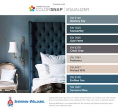 I found these colors with ColorSnap® Visualizer for iPhone by Sherwin-Williams: Blustery Sky (SW 9140), Seaworthy (SW 7620), Gale Force (SW 7605), Cloak Gray (SW 6278), Pediment (SW 7634), Malted Milk (SW 6057), Endless Sea (SW 9150), Santorini Blue (SW 7607).