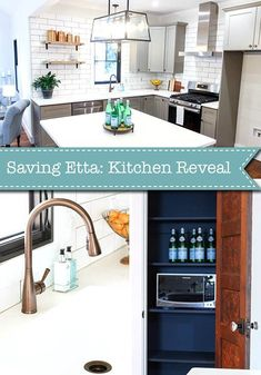 Saving Etta: The Long Awaited Kitchen Reveal - Pretty Handy Girl - Saving Etta: Kitchen Update + Reveal Modern Farmhouse Kitchen with Sources! Modern Farmhouse Kitchens, Farmhouse Decor, Kitchen Decor, Kitchen Design, Kitchen Furniture, Kitchen Ideas, Magnolia Homes Paint, Updated Kitchen, Kitchen Updates