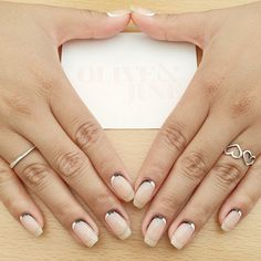 Think of this as your average silver French-tip mani, but flipped upside down. Isn't it amazing what a dramatic difference such a small alteration can make?