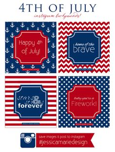 4th of July Instagram Backgrounds. Go to the blog, save the image, and post to instagram! #jessicamariedesign