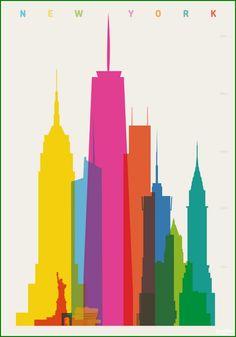 """Cidades Minimalistas por Yoni Alter. O designer inglês é apaixonado por arquitetura e criou a série """"Formas da Cidades"""". // Cities Minimalists by Yoni Alter. The english designer is passionate about architecture and created the series """"Shapes of Cities."""""""