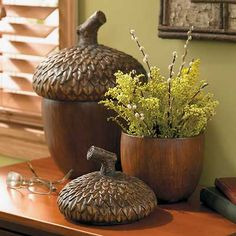 Sculpted Acorn Baskets/Storage Containers | Wild Wings...would love to have these!