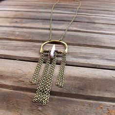 SALE Blush  Large Brass Horseshoe Necklace with by Tangleweeds, $60.00