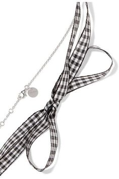 Miu Miu - Gingham Cotton, Silver-tone, Crystal And Faux Pearl Necklace - one size