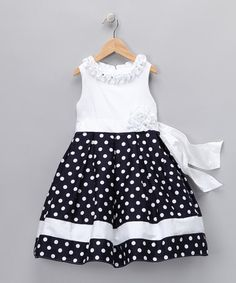 Take a look at this Navy Polka Dot Aimee Dress - Toddler & Girls by Dorissa on #zulily today!