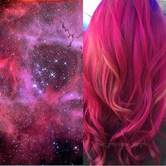 Galaxy hair color inspiration by Stephanie Lawrence. hotonbeauty.com fuchsia pink hair color melting