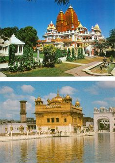 Birla Temple at New Delhi and Golden Temple at Amritsar (Set of Two) (Reprint on Card Paper - Unframed)