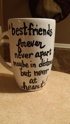 Personalized Handpainted LARGE white coffee mug Best by CNECrafts