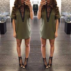 Dmart7dealLadies Sexy V -neck Lace Up Hollow Out Mini Dress Casual Short Sleeve Bandage Vestidos Plus Size
