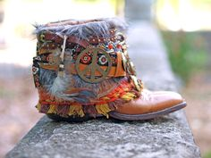 Peace boho upcycled boots from Thelookfactory on Etsy