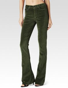 High Rise Lou Lou Flare - Faded Moss Velvet - PAIGE $219
