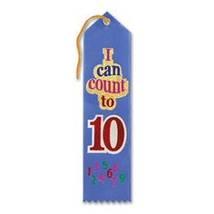 "Pack of 6 Blue I Can Count To Ten Award"" School Award Ribbon Bookmarks 8"""