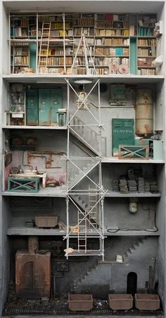 Gorgeously detailed mixed media shadow boxes by French artist Marc Giai-Miniet.  rcruzniemiec:    Pour Les Nuages, Passer Par L'EscalierMarc Giai-Miniet  The artist Boxes, open to one side, reveal detailed rooms filled with objects that tell a story, a story that we as the viewer are invited to discover.