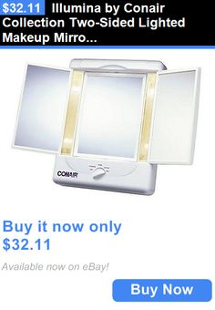 Makeup Mirrors: Illumina By Conair Collection Two-Sided Lighted Makeup Mirror With 3 Panels And BUY IT NOW ONLY: $32.11