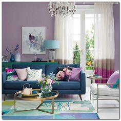 28 Cute Living Room With Purple Color Schemes Design Ideas #cutelivingroomdesign #livingroomdesignideas #livingroompurplecolor – gratitude41117.com Cute Living Room, Colourful Living Room, Living Room Green, Boho Living Room, Living Room Decor, Purple Living Rooms, Dining Room, Bohemian Living, Cozy Living