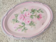 LUVMYCUSTOMERS LOVELY ROSE TRAY hp chic shabby vintage cottage hand painted PINK #METALTRAY