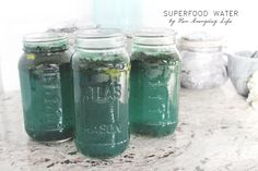 My superfood water is one of my favourite creations. It contains chia seeds, spirulina and lemon, all of which are packed with health benefits. Water Water, Spirulina, Superfood, Collagen, Health Benefits, Drinking, Mason Jars, About Me Blog, Eat