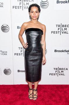 Zoe Kravitz en robe Balenciaga par Alexander Wang de la pré-collection automne-hiver 2015-2016 au Tribeca Film Festival à New York, le 19 avril 2015