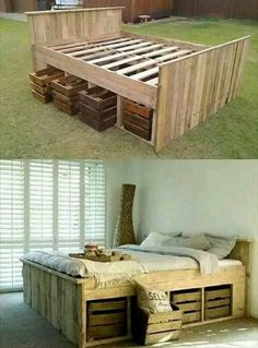 DIY high pallet futon bed with crate storage drawers.