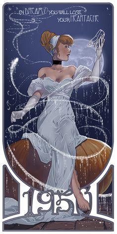 Cinderella in the art nouveau style of Alphonse Mucha.