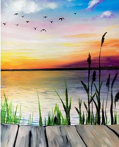 Lake Painting, Easy Canvas Painting, Simple Acrylic Paintings, Diy Canvas Art, Diy Painting, Painting & Drawing, Sunset Acrylic Painting, Beach Sunset Painting, Sunset Art