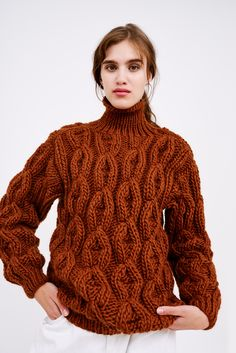 Knit Purl, How To Purl Knit, Thick Sweaters, Cute Sweaters, Jumpers, Lana, Knitwear, Turtle Neck, Women's Fashion
