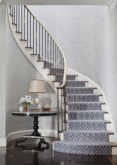 staircase - Markham Roberts Carpet selection for stairs. This staircase – Markham Roberts Carpet selection for stairs. This staircase - Markham Roberts Carpet selection for stairs. This staircase – Markham Roberts Carpet selection for stairs. Staircase Runner, New Staircase, Curved Staircase, Staircase Design, Stair Runners, Spiral Staircases, Staircase Remodel, Staircase Makeover, Staircase Ideas