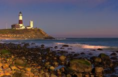 Montauk Lighthouse - The lighthouse at Montauk Point, Long Island, NY as sunset nears on an early November day.