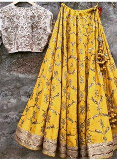 Yellow Gold Lehenga Choli In Raw Silk Material SF009332 #haldi