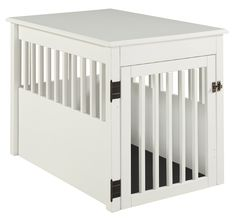 BarkWood Large Pet Crate End Table - White Finish