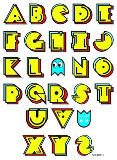 pac-man illuminated letter - Google Search Bolo Pac Man, Pac Man Cake, Creative Lettering, Graffiti Lettering, Pec Man, Festa Do Pac Man, Pac Man Party, Letras Cool, Video Game Party