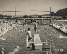 The Kingsmen Pool on a busy afternoon in - West Vancouver Archives