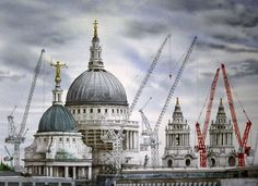 David Gentleman - St Paul's with cranes, watercolour, David Gentleman, Beautiful Architecture, Vintage Architecture, London Painting, Building Drawing, Glasgow School Of Art, London Pictures, Royal College Of Art, Landscape Drawings