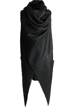 Men's black asymmetrical front draped wool cloak from Minoar. Relaxed fit with excessive front draping. Made from a smooth, medium weight textured weave wool fabric.