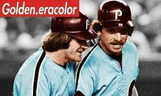 In support of the City Of Brotherly Love (Go Eagles!!) here is a great shot of one of baseball's all time duos...... Pete Rose & Mike Schmidt.  This great colorization was put together by my pal @golden.eracolor .  Check out his amazing work when you can #goeagles #philadelphia #phillies #baseball #vintage #greatshot #dynamicduo #look #tgif #superbowl #philadelphiaeagles #peterose #mikeschmidt