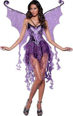 Sexy Halloween InCharacter Adult Deluxe Purple Naughty Nymph Costume w Wings #InCharacter #CompleteCostume