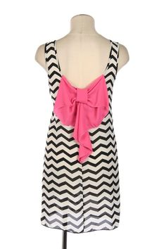 The Texas Cowgirl - Black and White Chevron Print Dress with Pink Bow Back, Dress, (http://www.thetexascowgirl.com/black-and-white-chevron-print-dress-with-pink-bow-back-dress/)