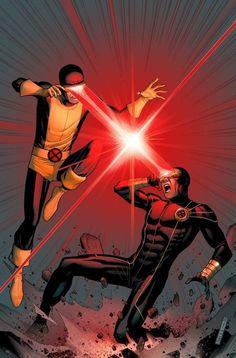 Cyclops vs. Cyclops ~ art by Jim Cheung