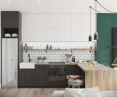Biało-czarna kuchnia z drewnem i zieloną ścianą - Lovingit.pl