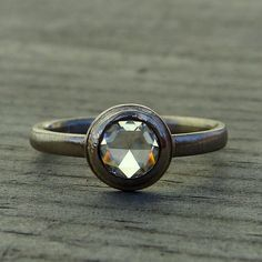 Low Profile Rose Cut Forever Brilliant Moissanite and Recycled 14k Palladium White Gold Ring - Alternative Engagement Handmade item Materials: moissanite, gold, 14k, palladium, white