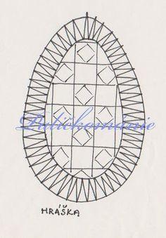 paličkované vajíčko - návrh a realizace V.Cepáková      Dnešní vajíčko je z plátýnkové pásky s výplní, které se říká hráška. Hairpin Lace Crochet, Crochet Motif, Crochet Shawl, Crochet Edgings, Bobbin Lace Patterns, Bead Loom Patterns, Lace Earrings, Lace Jewelry, Bobbin Lacemaking