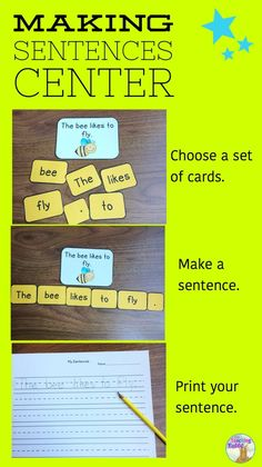 Choose a set of cards, make a sentence and print it! This Making Sentences Literacy Center is best for Kindergarten or Grade 1 students. You can differentiate by using it with or without the picture card.
